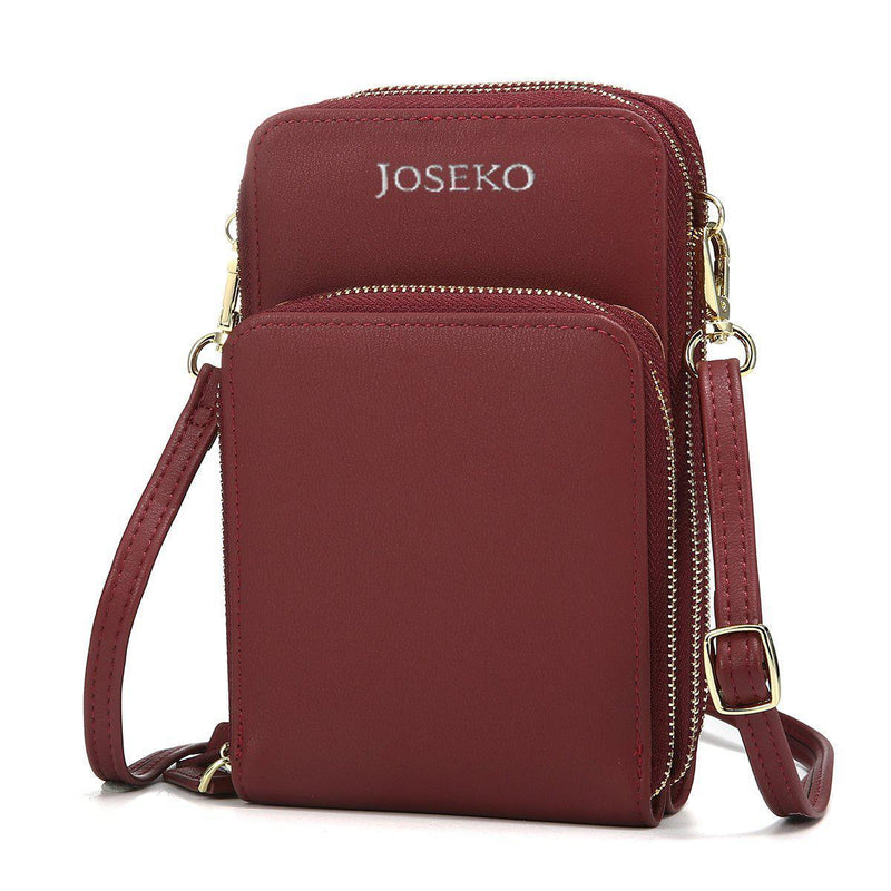 Solid PU Leather Crossbody Purse-Luckyfine