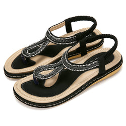 Gracosy Summer Women Flat Sandals Flip Flops, T-Strap Rhinestone Beads Sandals-Matte Colour