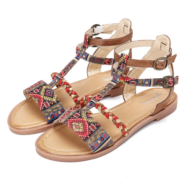 Gracosy Women Summer Bohemian Gladiator Flat Sandals, Roman Gladiator Strappy Flat Leather Sandals, Open Toe Ankle Strap Slippers