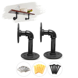 2PCS Industrial Black Iron Pipe Bracket Wall Mounted Floating Shelf Hanging Wall Hardware 15x8cm