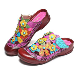 gracosy Women Summer Leather Clogs Flower Hollow Out Sandals Slippers Loafer