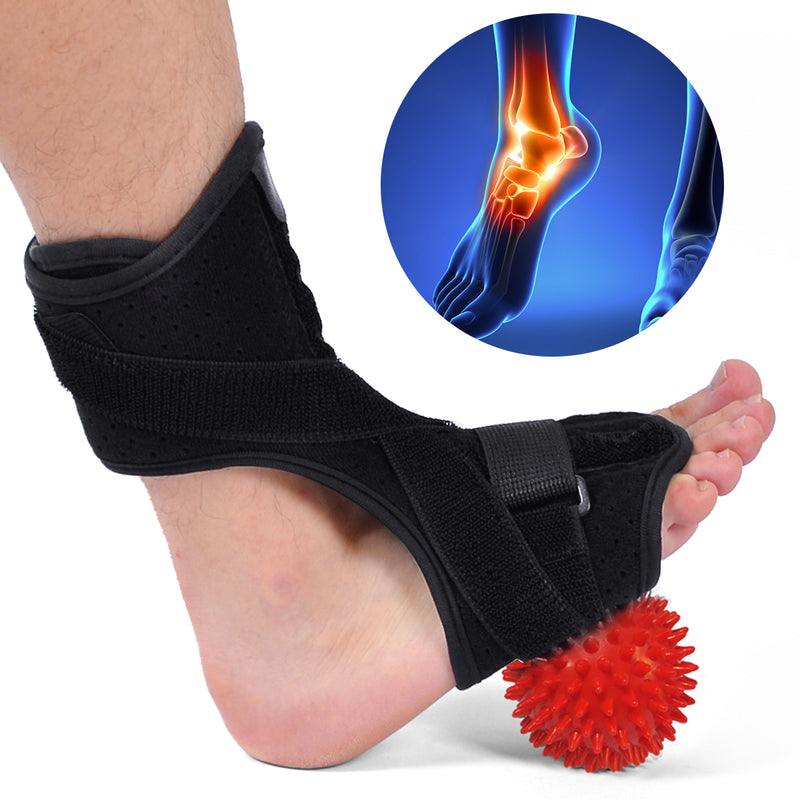 Plantar Fasciitis Night Splint Drop Foot Orthotic Brace w/ Hard Spiky Massage Ball for Relief Pain