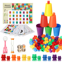 118PCS Rainbow Sorting Counting Bears Educational Toy Set, Matching Cups, Dices, Montessori Math Matching Game