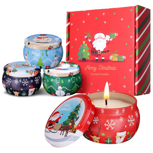 Christmas Scented Candles Gift Set, 4 Cans Made of 100% Natural Soy Wax w/ Essential Oils for Home