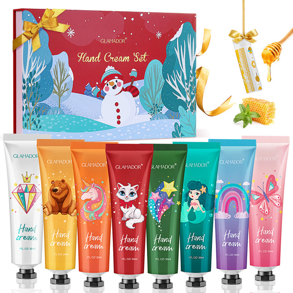 GLAMADOR 8 Hand Cream w/ Lip Balm Gift Set Hand Lotion Enriched with Shea Butter, Deep Moisturizing Your Hand