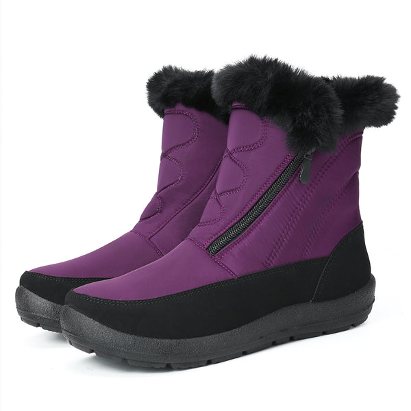 Gracosy Snow Boots, Winter Fur Lined Waterproof Warm Mid-Calf Boots Lightweight Thickening Flat Zip Bottines