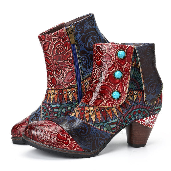 Gracosy Women Vintage Floral Pattern Leather Ankle Boots, Bohemian Block Heel Booties for Autumn Winter