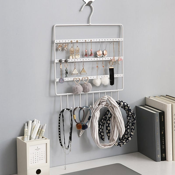 Jewelry Hanging Display Rack Hanging Storage Rack with Hooks, 72 Holes