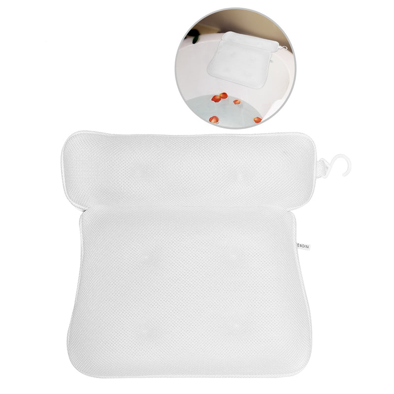 3D Air Mesh thin bath pillow, non-slip with 6 Big Suction Cups