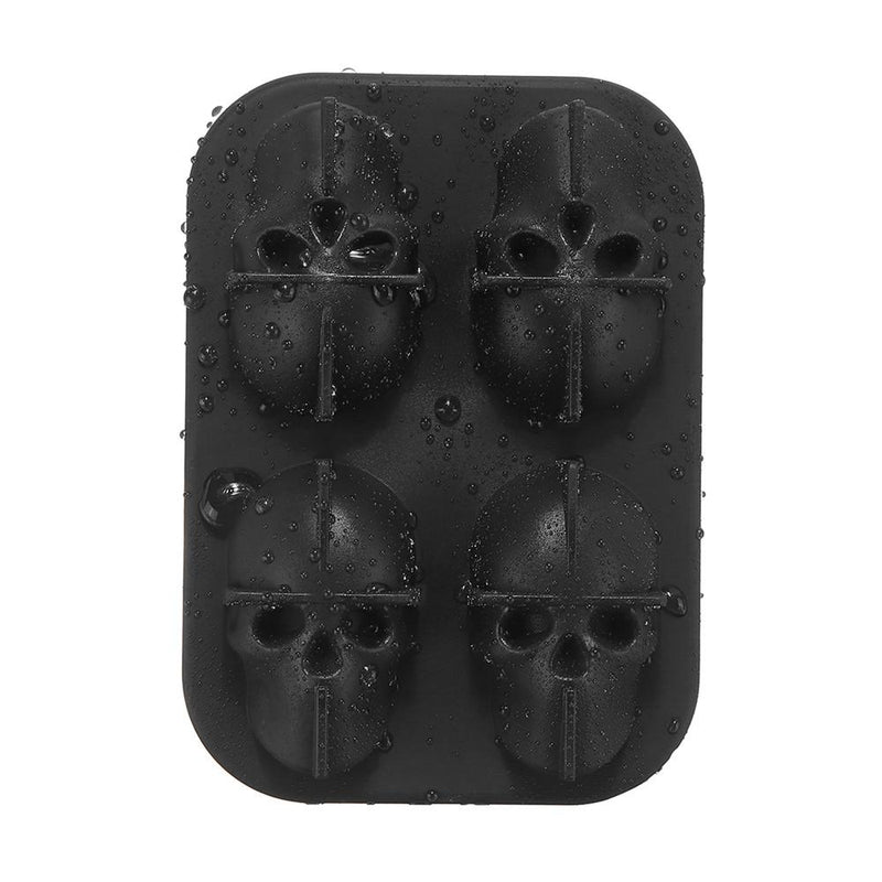 3D Food-Grade Silicone Skull Ice Cube Mold Tray, 8 Full Skull Ice Cube Maker with Lid for Halloween, Costume Party