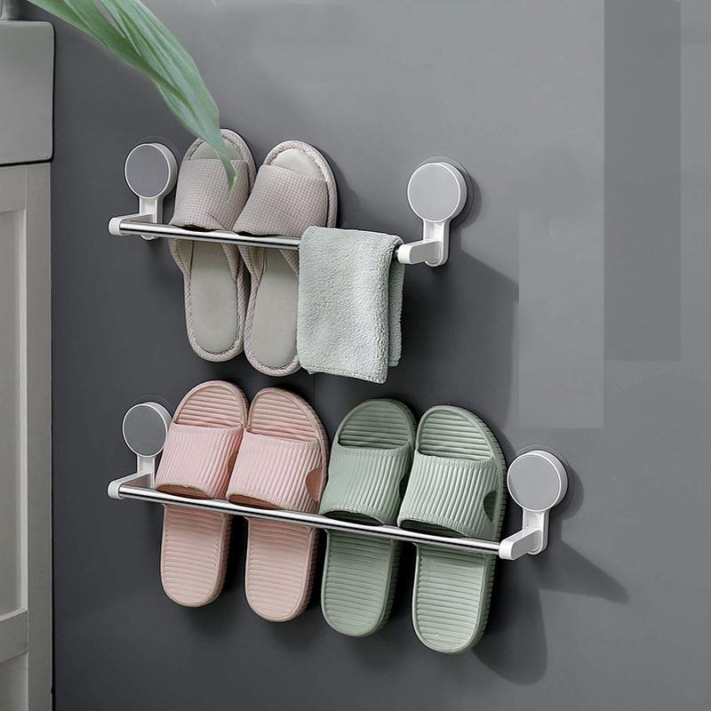 No Drilling Wall Mounted Slippers Hanging Rack Towel Rack Shoes Organizer for Bathroom Bedroom