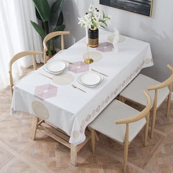 PVC Vinyl Rectangle Tablecloth, Oil Proof, Waterproof, Stain Resistant, Easy to Clean