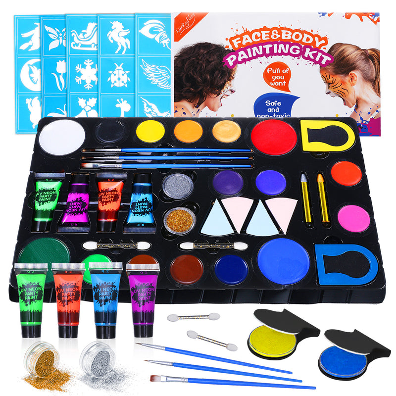 Face & Body Paint Kit for Kids, 16 Face Paints & 4 UV Glow Paint, 2 Glitters, 2 Hair Chalk