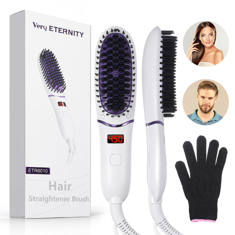 Electric Ionic Hair Brush Hair Straightener Anti Scald Hair Straightening Comb w/ LED Display