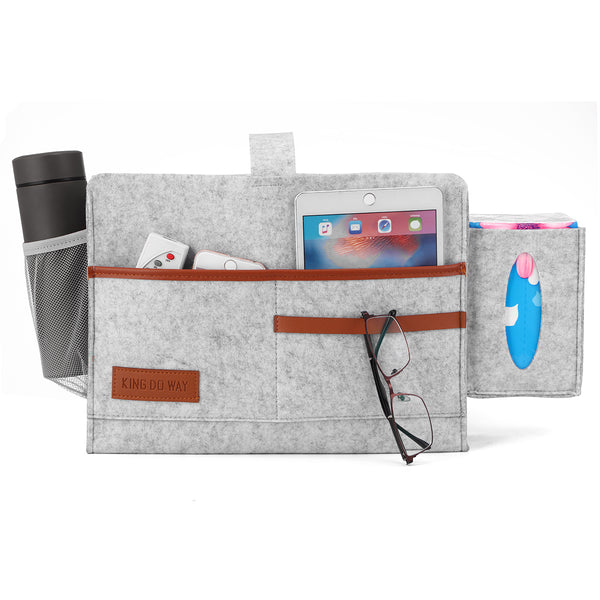 Bedside/Sofa Felt Hanging Non-Slip Storage Organizer with Tissue Box Water Bottle Holder 7 Pocket