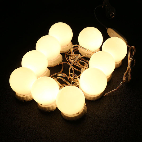 10PCS LED Bulb String Vanity Mirror Lights Kit, 3 Colors Light for Bathroom Mirror