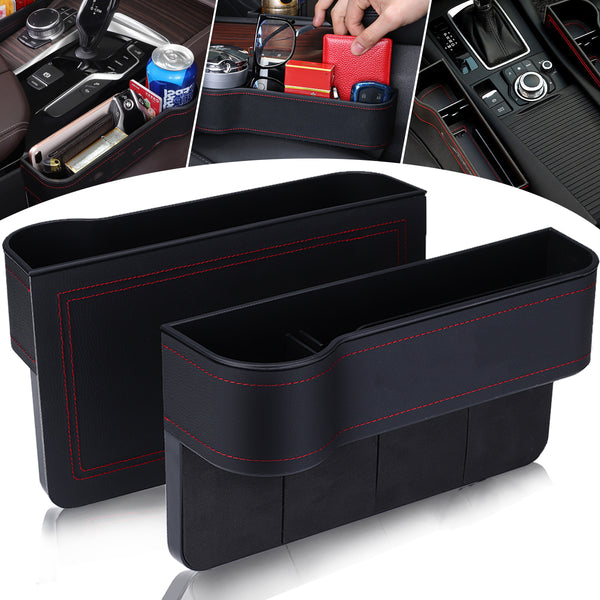 2PCS PU Leather Car Organizer Front Seat Filler, Multifunctional Phone Wallet Cup Cards Holder Storage Basket