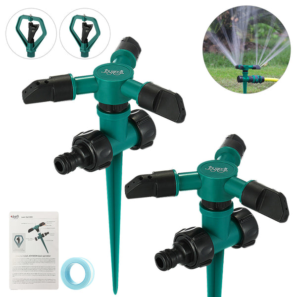 2 Set Garden Lawn Sprinkler w/ 2 pcs 360 Degree Rotary Butterfly Sprinklers 3,000 Sq. Ft Coverage