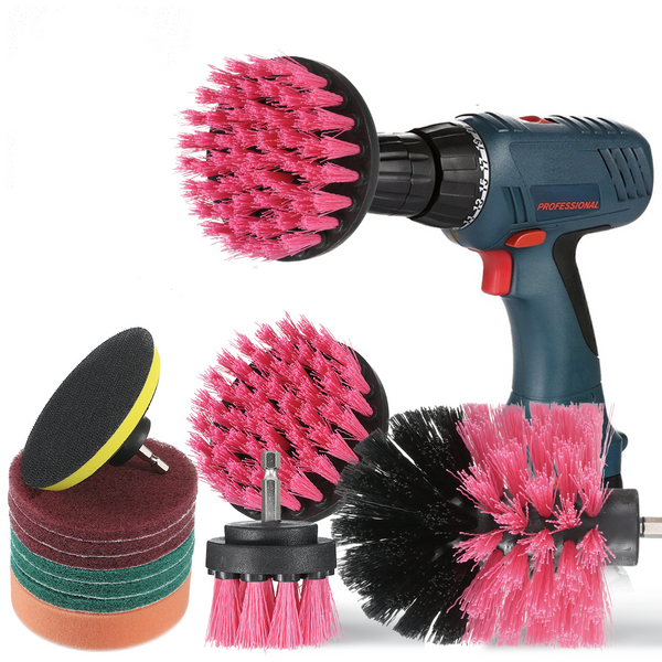 11 PCS Attachment Electric Drill Brushes for Cleaning Kitchen Bathroom, Car - Fits Most Drills