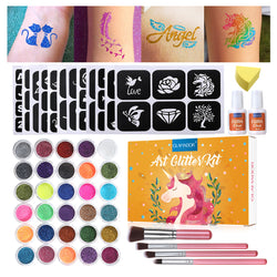 30 Glitter Temporary Tattoo Set  for Kid & Adults Body Nail Glitter Art Paint Party
