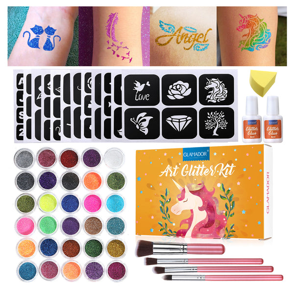 30 Set di tatuaggi temporanei con glitter per bambini e adulti Body Nail Glitter Art Paint Party