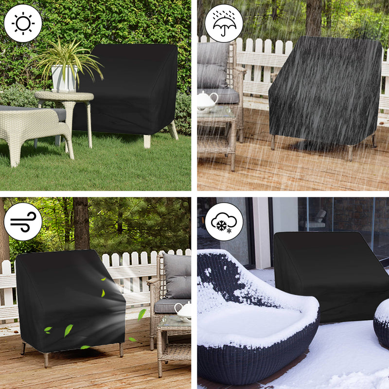2PCS Patio Chair Covers, Waterproof Deep Seat Lounge Chair Cover, High Back 600D Oxford Fabric