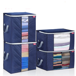 4PCS Clothes Storage Bags 2 Size Extra Large Closet Organizer w/ 3 Layers Fabric Reinforced Handle
