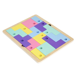 Wooden Tetris Puzzle Jigsaw Toys Parent-Child Toys for Kids Logical Thinking Development Educational