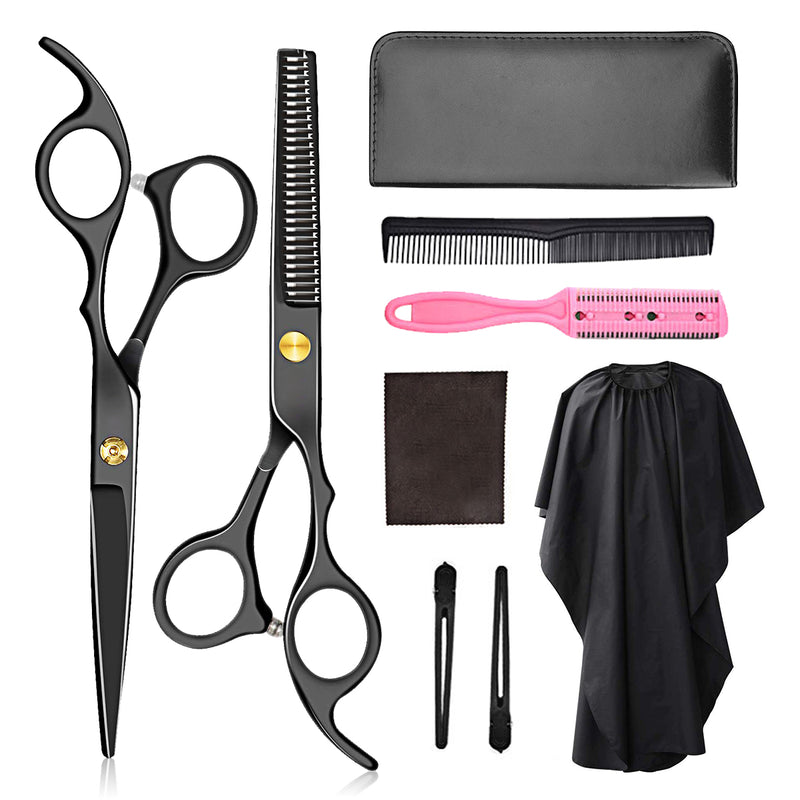 9PCS Barber Scissors Hairdressing Scissors Set Black Pro Scissors Set with Barber Cape & Storage Case