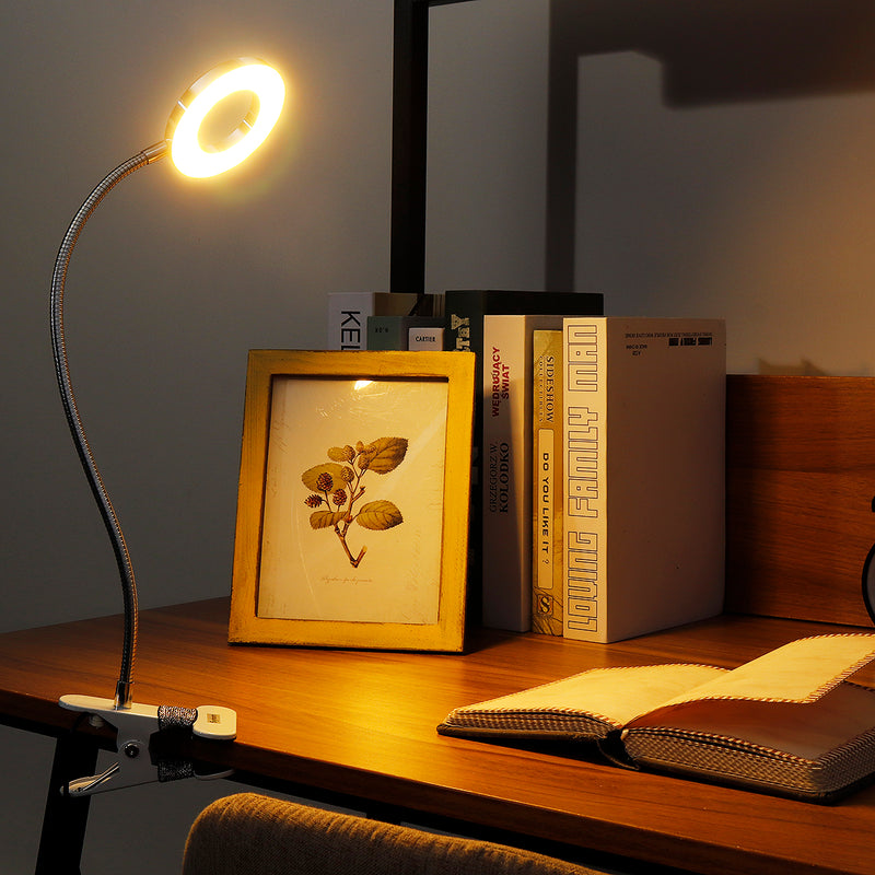 LED Clip Reading Light, USB Rechargeable Bed/Desk/Makeup Light, 2 Brightness with Eye Protection