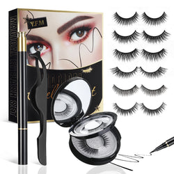 6 Pairs Reusable Eyeliner & Non-Magnetic Eyelashes Kit, Multi Styles False Eyelashes No Glue Needed