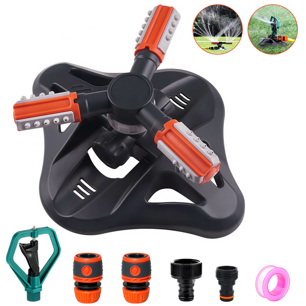 Garden Lawn Yard 3-Arm Sprinkler, Butterfly Rotary Automatic 360 Rotating, w/ 6 PCS Sprinkler Accessories