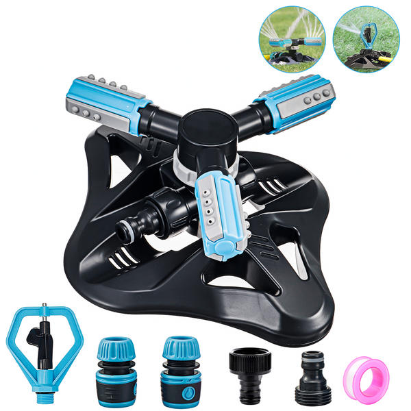 Garden Lawn Yard 3-Arm Sprinkler, Butterfly Rotary Automatic 360 Rotating, w/ 6 PCS Sprinkler Accesorios