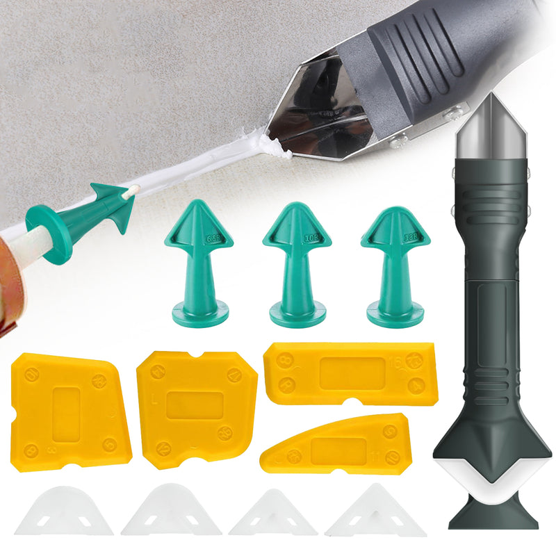 13PCS Silicone Caulking Tool Kit Sealant Remover, w/ 3 in 1 Sealant Finishing Tool for Window Corner Seam/Crack