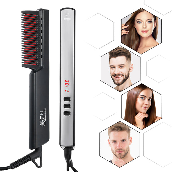 Luckyfine Ionic Electric Hair Straightening Comb, 6 Temp Settings & Anti-Scald LED Display