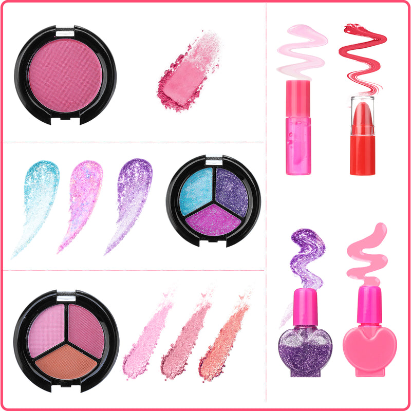 Luckyfine 20PCS Kids Makeup Kit, Washable Makeup Set Toys, Best Gift for Pretend Play Game, Christmas & Birthday