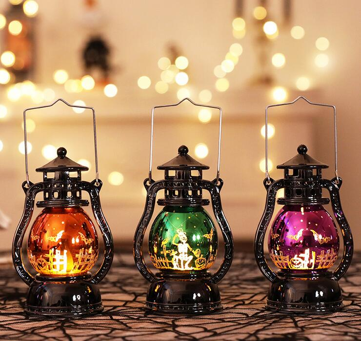 Halloween Party Decor Vintage Mini Oil Lamp Night Light Home Props Halloween Latern