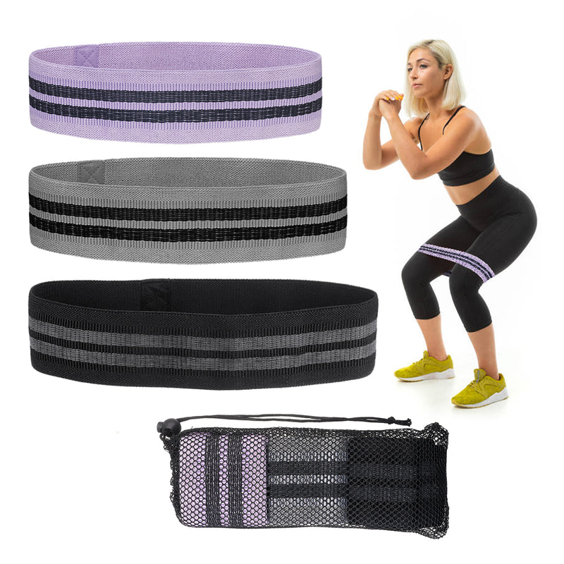 3 Size Resistance Hip Booty Workout Bands Set Fitness for Legs Butt Squat Hip Fabric Bands