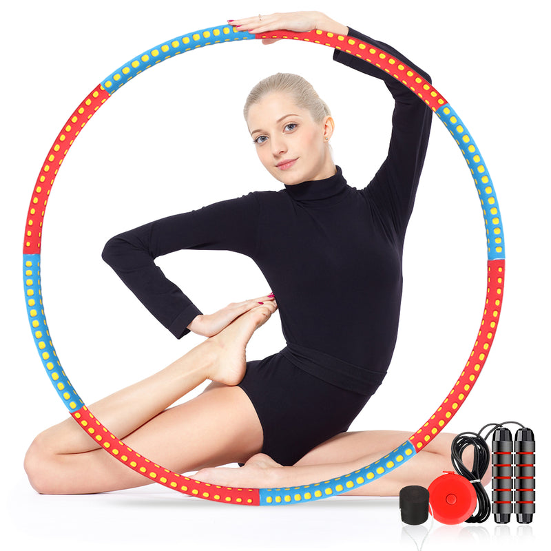 Fitness Hoop 6 Section Adjustable Design w/ Skipping Rope, Waist Ruler, 8 Plug, Fitness Exercise Circles