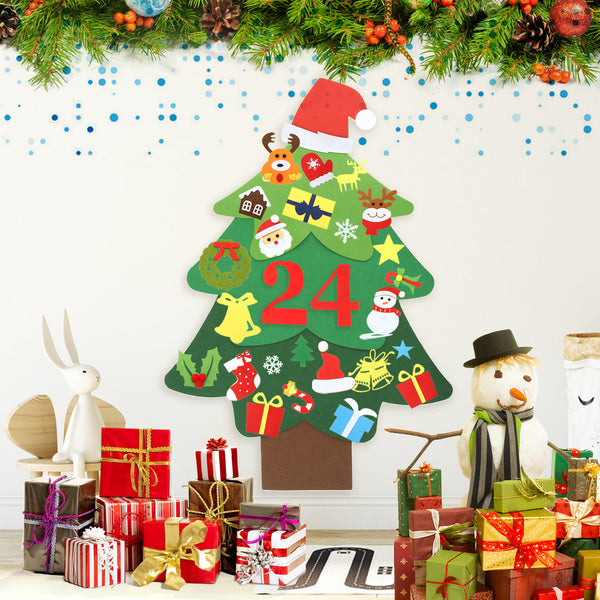 DIY Felt Christmas Tree for Kids, 3.2FT w/ 39pcs Ornaments, Wall Hanging Detachable Xmas Gifts Home Decor