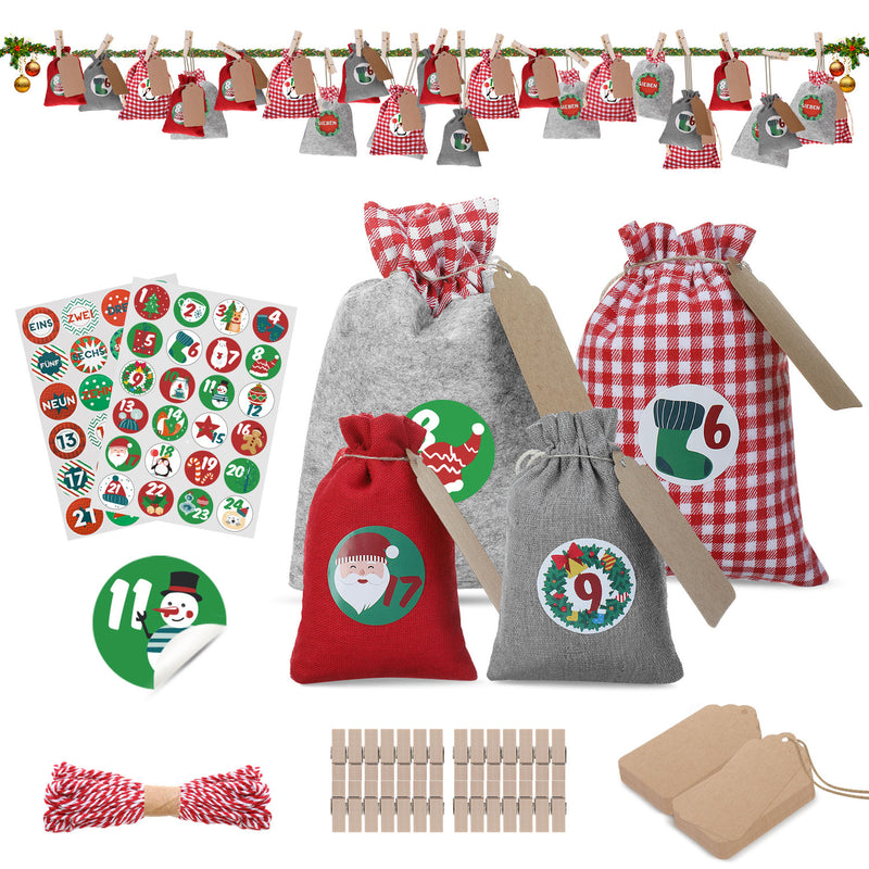 Christmas Countdown Advent Calendar Fill by Yourself, w/ Gift Bags Number Stickers, Clips, Kraft Paper, Twine