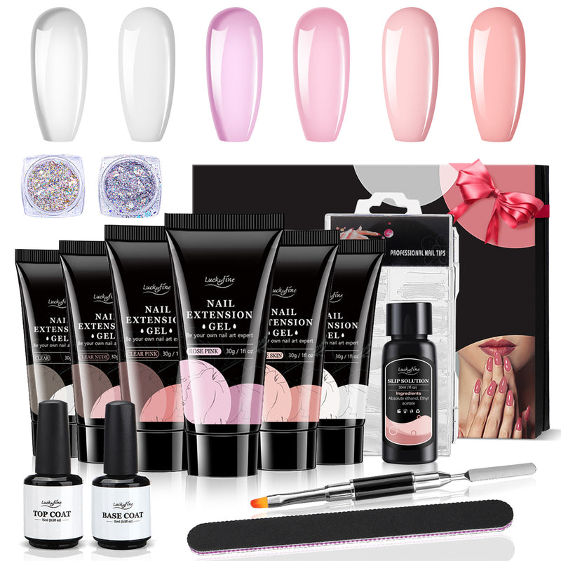 Luckyfine 6 Colors 2 Glitter Poly Nail Extension Gel Kit w/Top Coat, Base Coat, Slip Solution Starter Kit