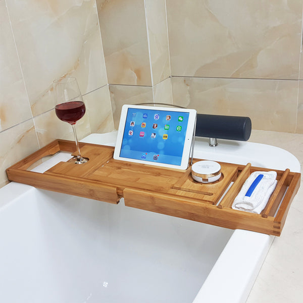 Adjustable Bamboo Bathtub Rack, Expandable Detachable Bathtub Tray Solid Center For Home Spa