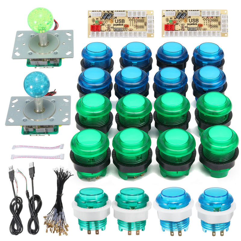 2xLED Arcade Mame DIY Kit Parts Push Buttons & Joysticks Kit for 2 Players, Blue + Green