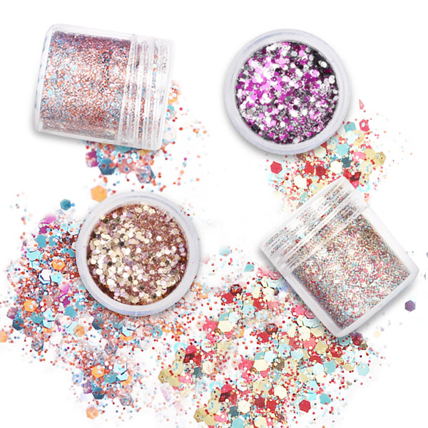 12 Colors Makeup Glitter Powder Set for Eye Shadow, Face & Nail