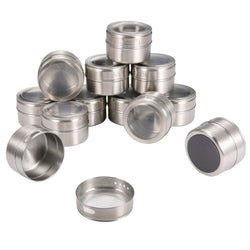 12PCS Stainless Steel Magnetic Spice Tins Set-Luckyfine
