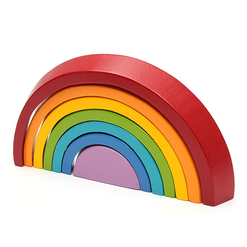 Educational Rainbow Toy Blocks, Wooden Rainbow for Learning, Parent-Child Puzzle Toy Geometry Bricks