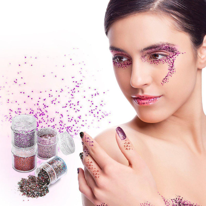 4 Colors Glitter Set for Eye Shadow, Face & Nail-Luckyfine