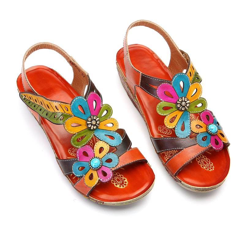 Gracosy Women Summer Vintage Handmade Flower Splicing Leather Sandals, Bohemian Handmade T-Strap Wedge Heel Platform Sandals