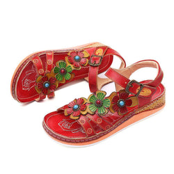 Summer Flower Splicing Sandals
